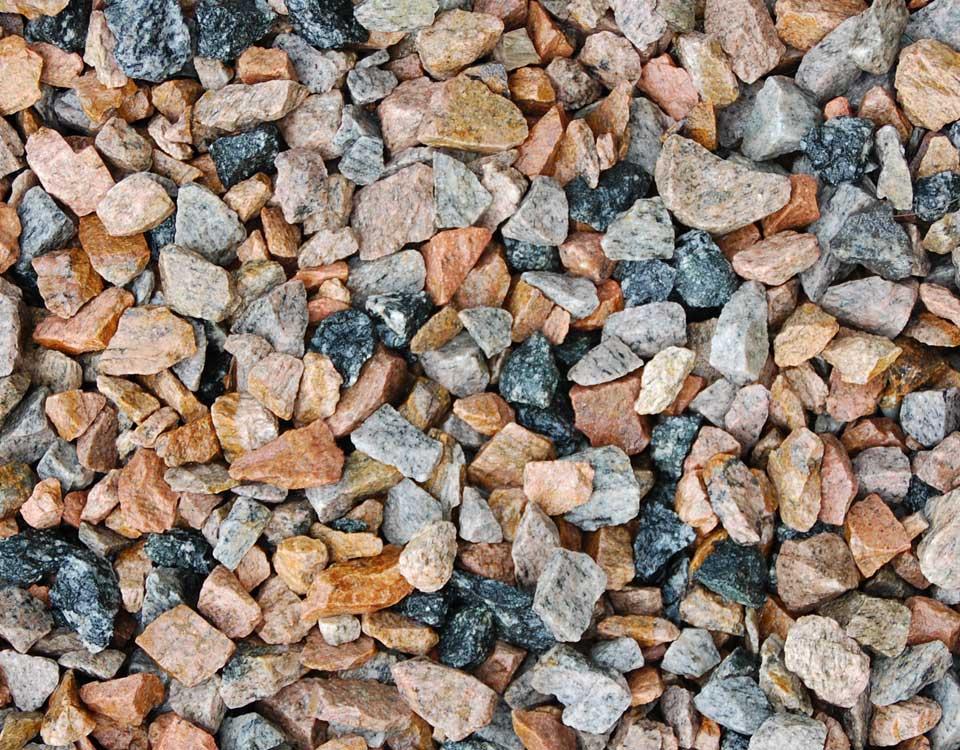 Zierkies, Granit, rot/schwarz, gebrochen