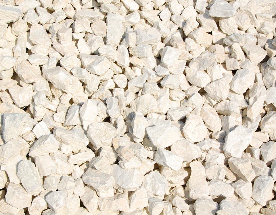 Zierkies, Marmor weiß, gebrochen