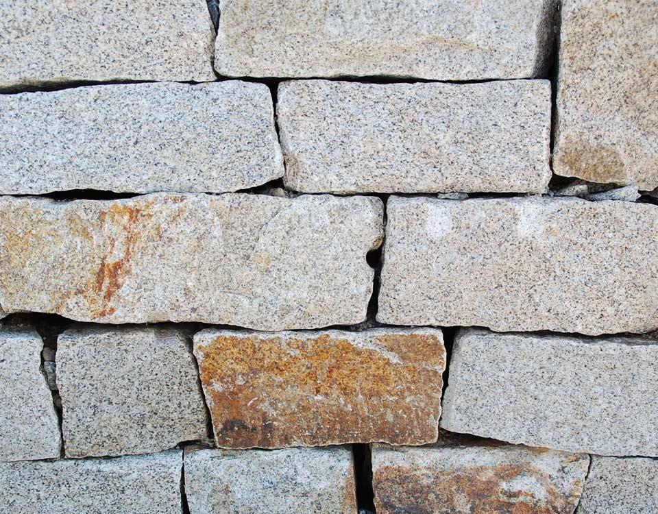 Mauerstein, Granit, gelb, unsortiert