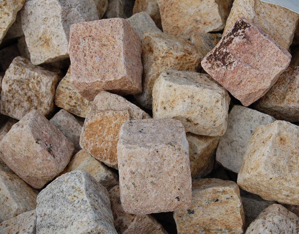 Pflastersteine, Granit, gelb