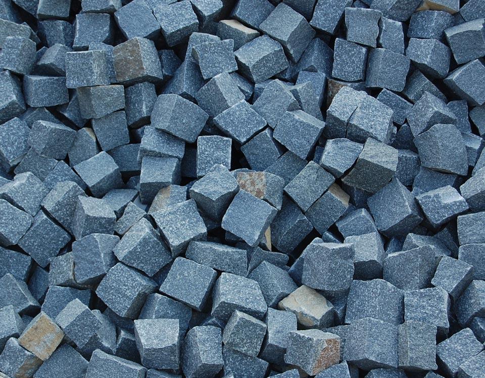 Pflastersteine, Granit, schwarz